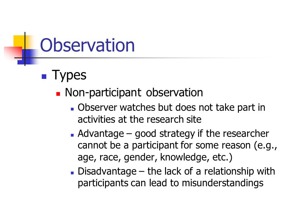 non participant observation report Non-participant structured observation was used to compare the interventions   the quality of observational reports is judged by the extent to which the reader.
