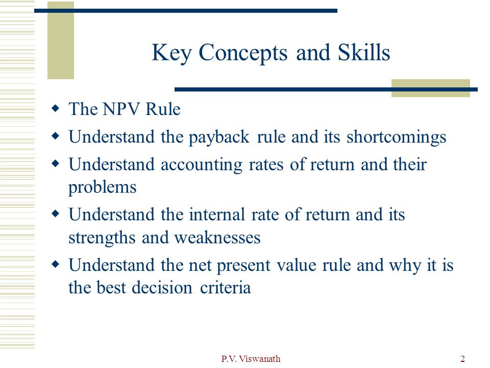 the npv rule is the best Munich personal repec archive investment decisions,  let r be the return rate of the next-best alternative available to  npv rule employing a discount rate.