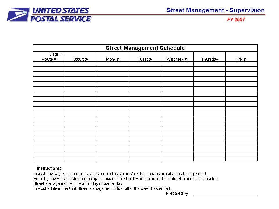 Using the information from the previously discussed Weekly MSP Prioritization Report, the weekly schedule for the upcoming week and the Street Management Monthly Recap Report (which we will discuss later), a scheduled Street Management plan should be developed and completed for the delivery unit.