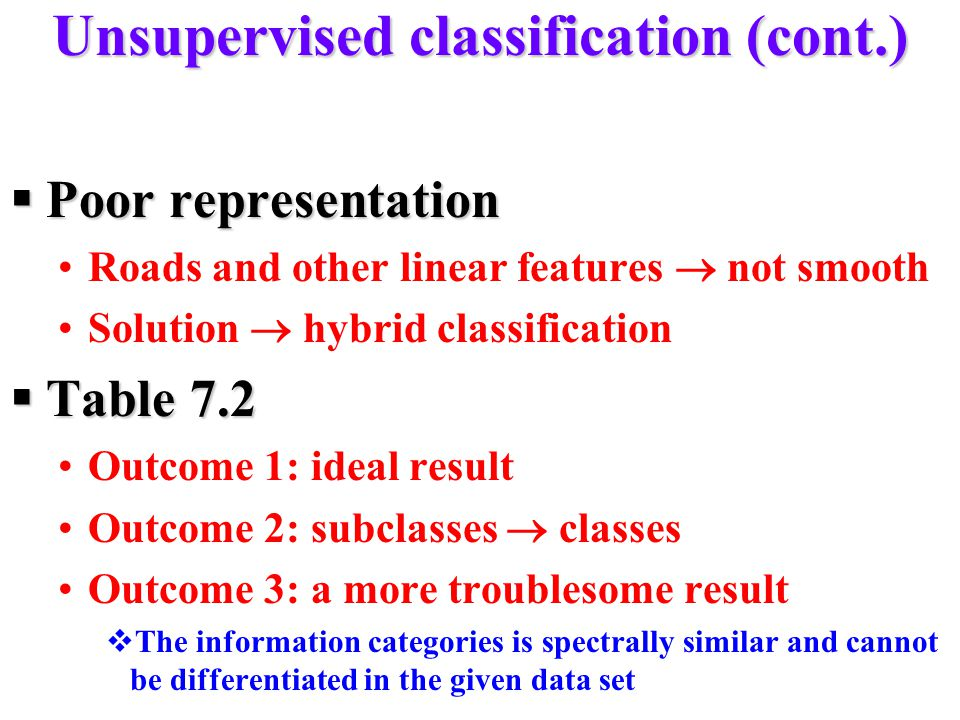 Unsupervised classification (cont.)
