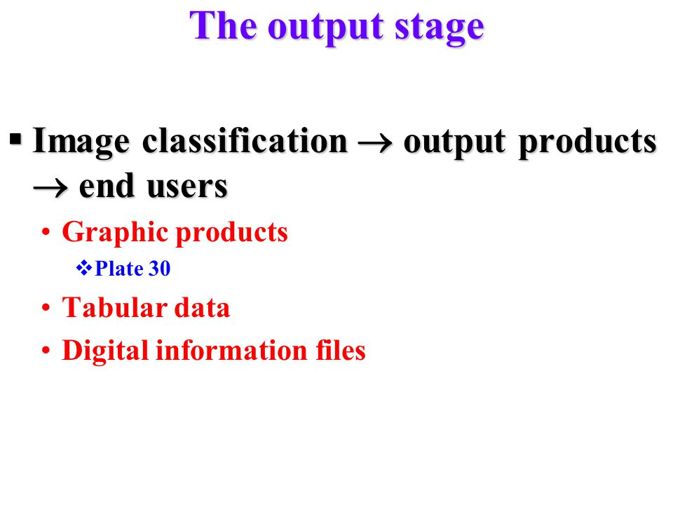 The output stage Image classification  output products  end users