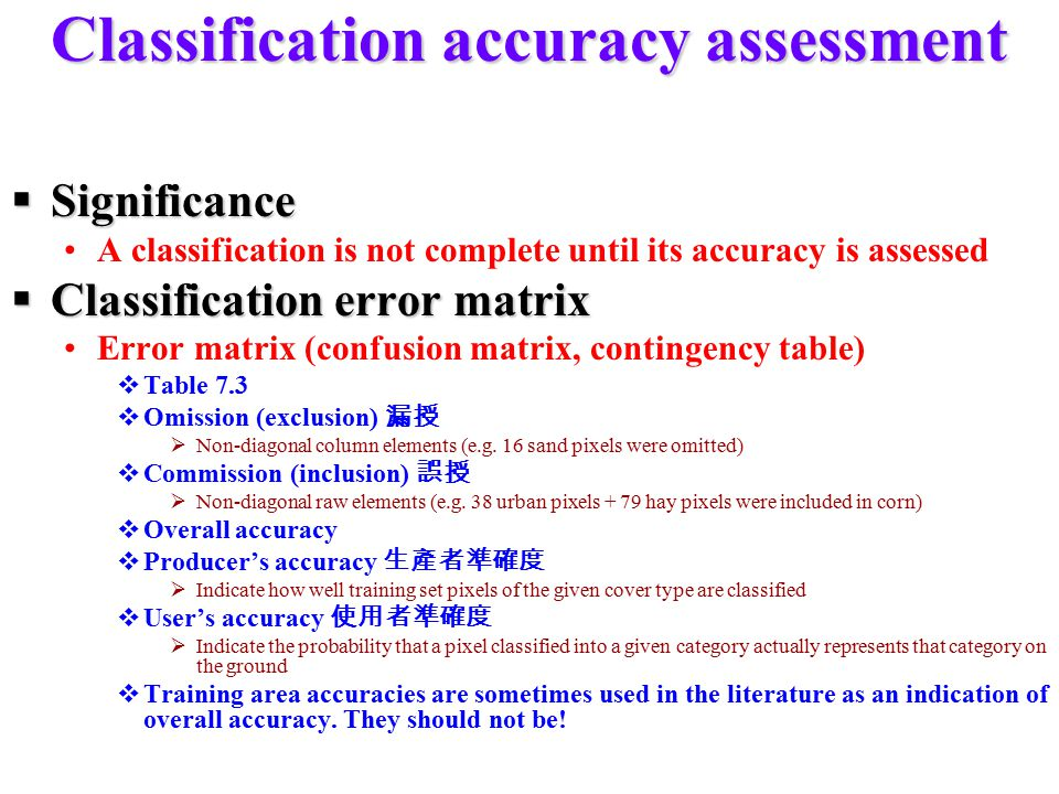 Classification accuracy assessment