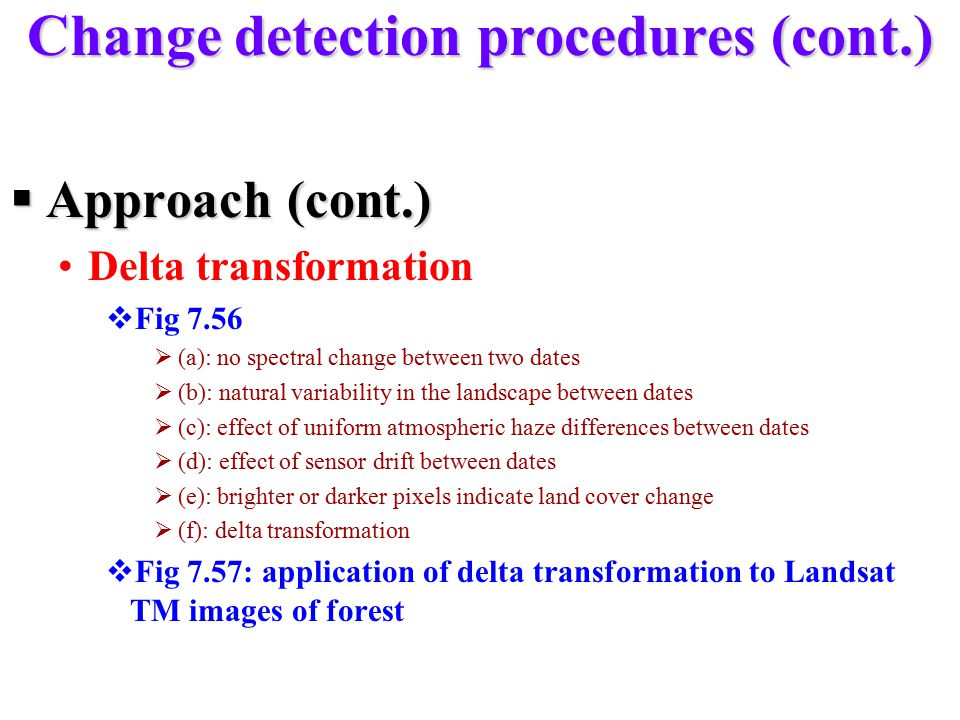 Change detection procedures (cont.)