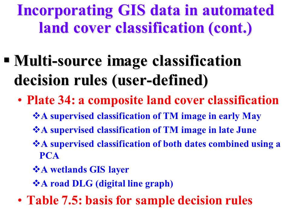 Incorporating GIS data in automated land cover classification (cont.)