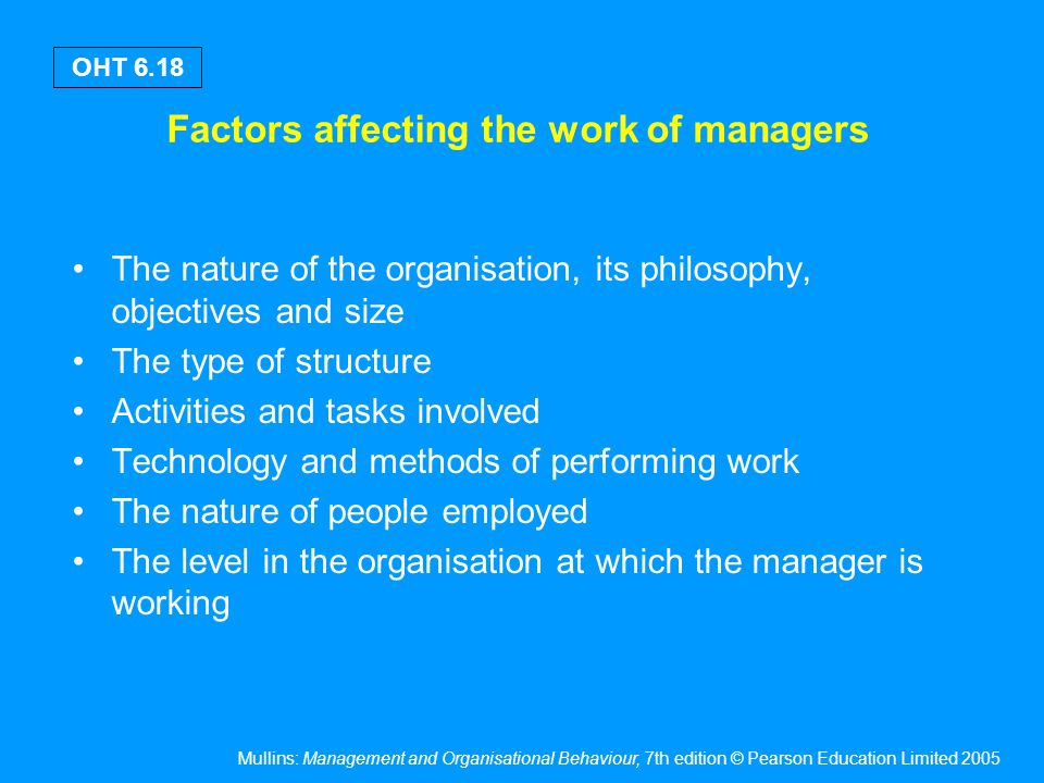 The work of a manager – the environmental setting