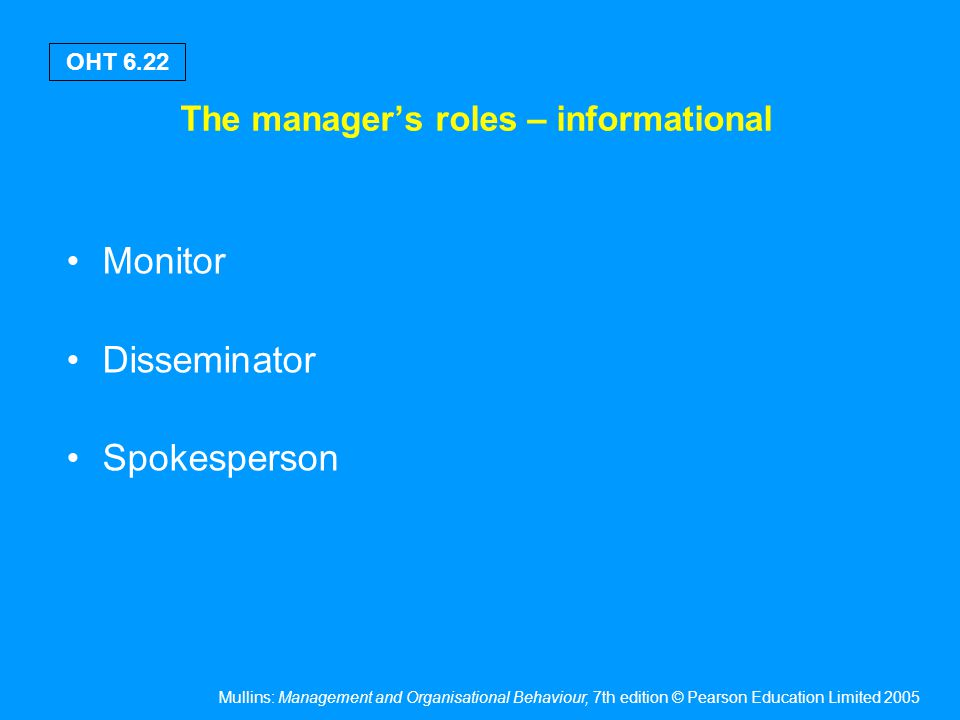 The manager's roles – decisional