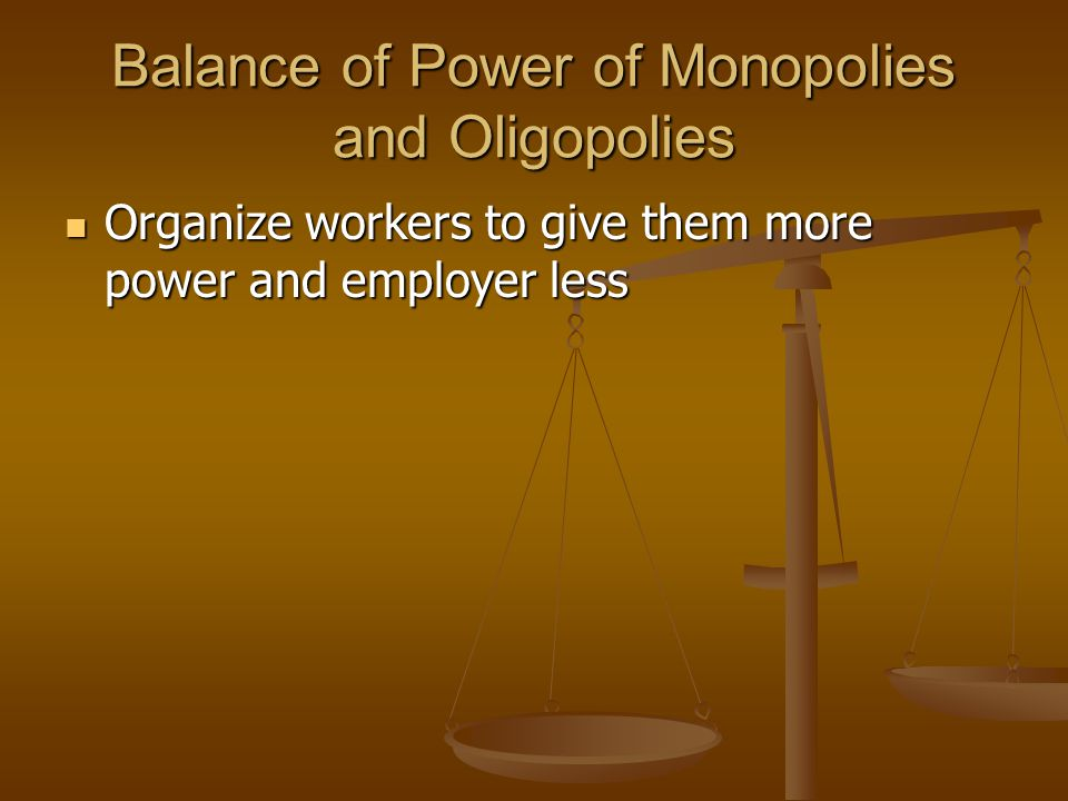 Balance of Power of Monopolies and Oligopolies