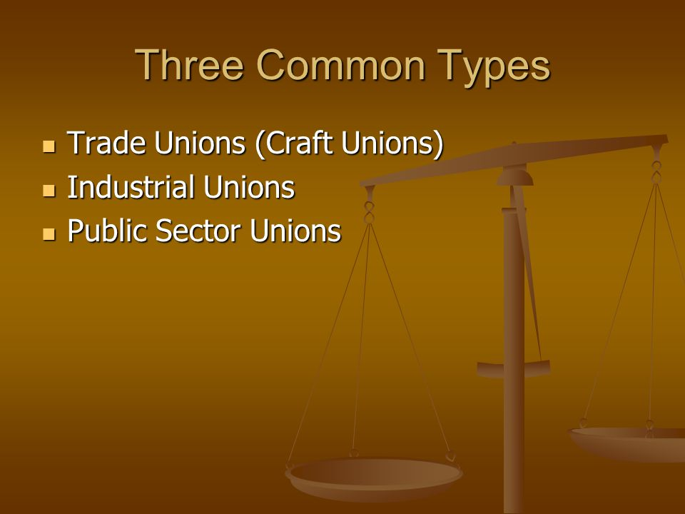 Three Common Types Trade Unions (Craft Unions) Industrial Unions