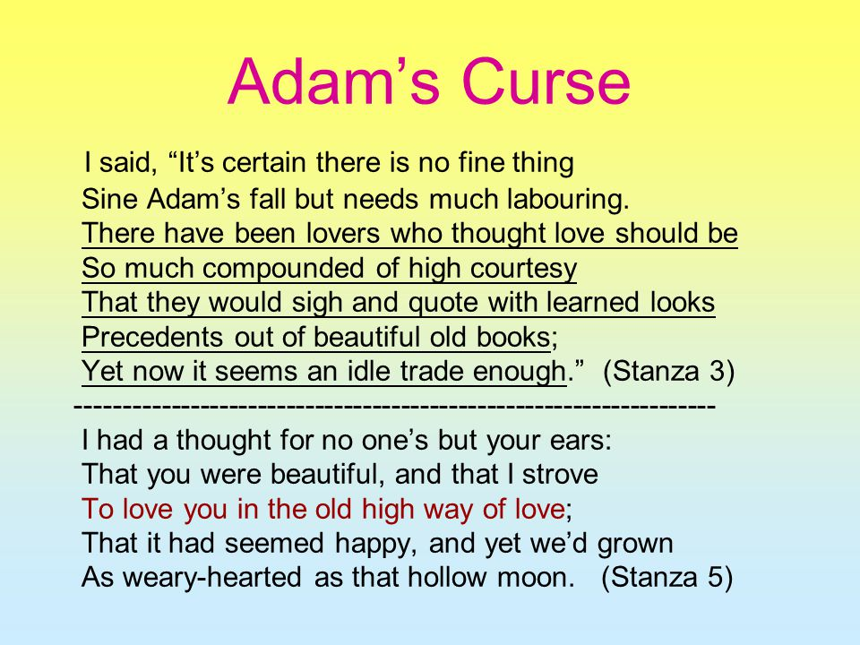 Adams curse by william butler yeats