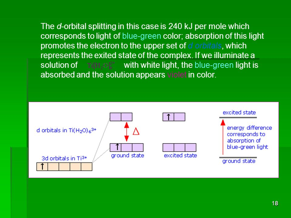 The d-orbital splitting in this case is 240 kJ per mole which corresponds to light of blue-green color; absorption of this light promotes the electron to the upper set of d orbitals, which represents the exited state of the complex.