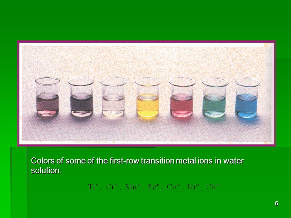 Colors of some of the first-row transition metal ions in water solution: