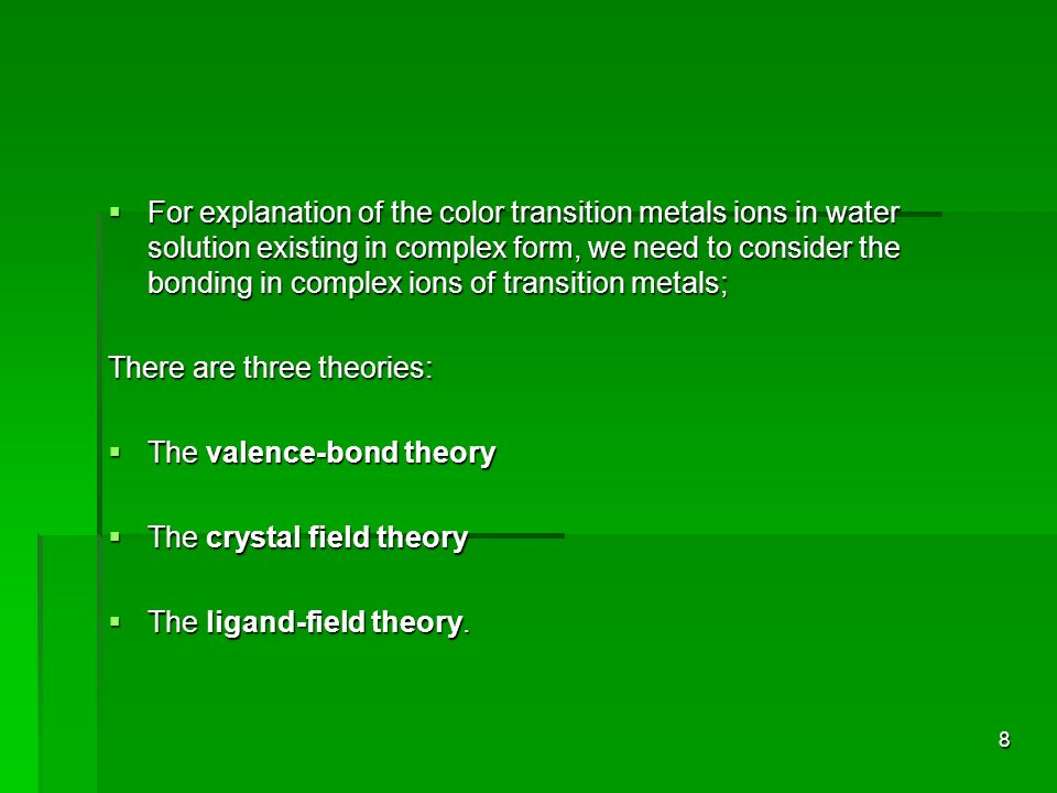 For explanation of the color transition metals ions in water solution existing in complex form, we need to consider the bonding in complex ions of transition metals;