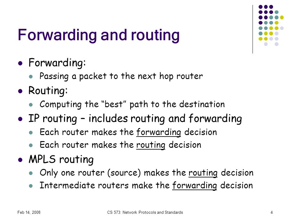 Forwarding and routing