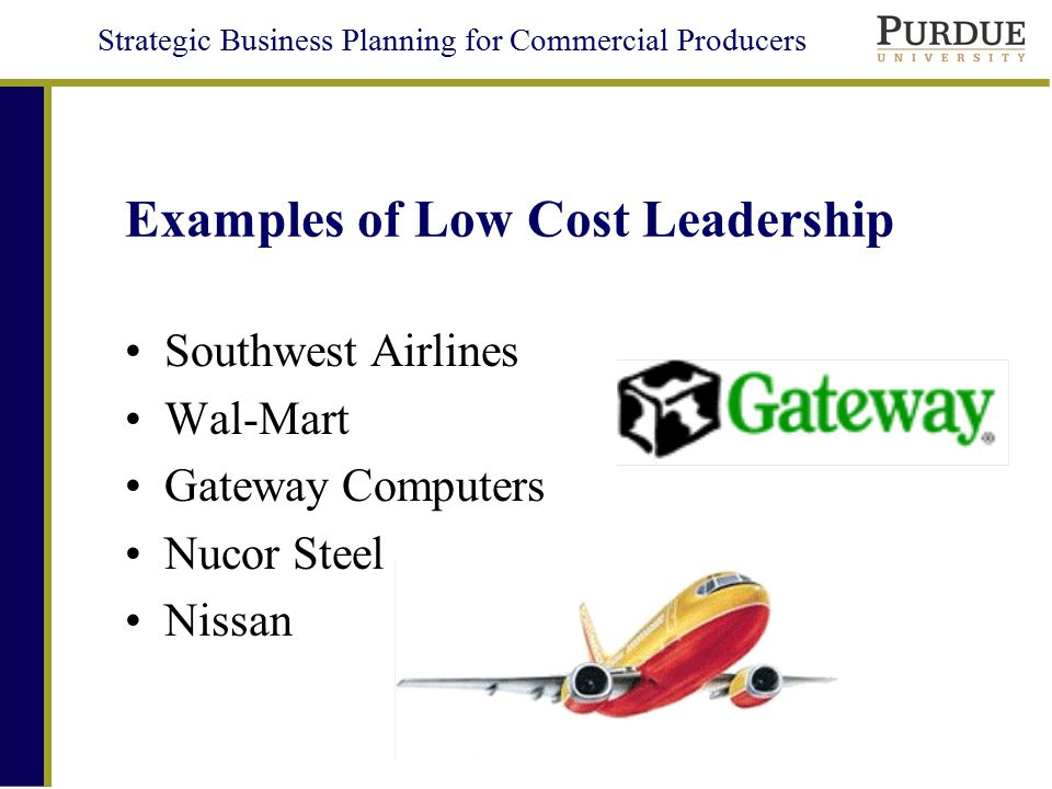 low cost strategy A low-cost leader strategy: striving to be the overall low-cost provider of a product or service that appeals to a broad range of customers (a couple of examples are sam's club and southwest airlines.