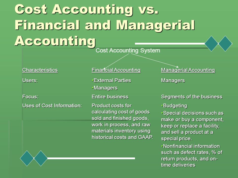Cost Accounting vs. Financial and Managerial Accounting
