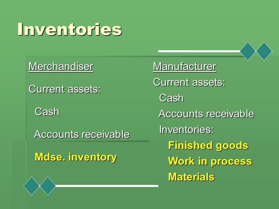 Inventories Merchandiser Current assets: Cash Accounts receivable