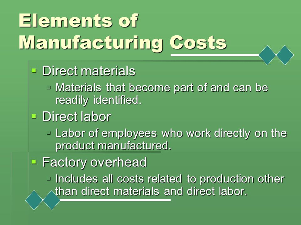 Elements of Manufacturing Costs