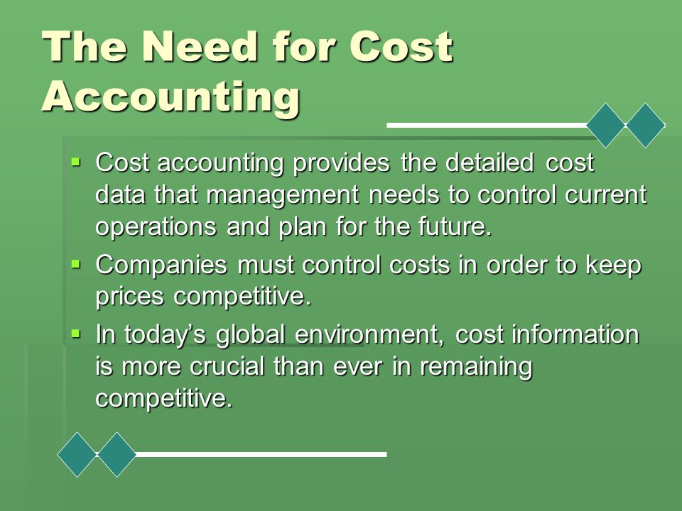 The Need for Cost Accounting