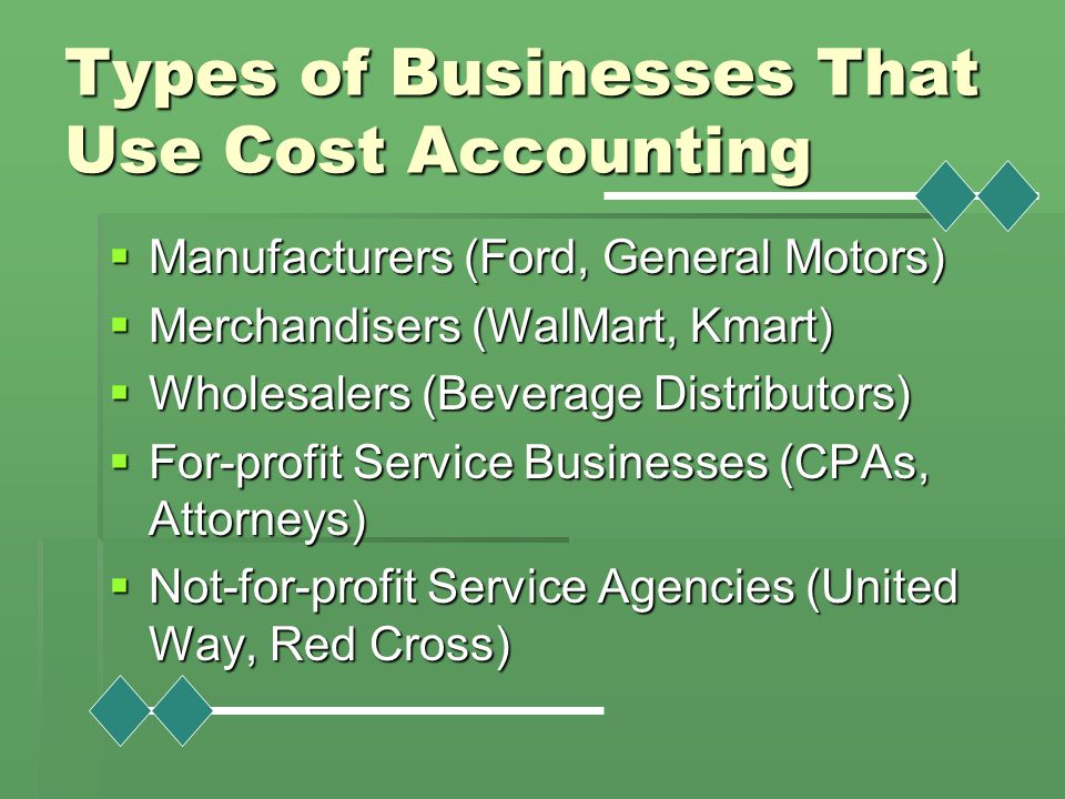 Types of Businesses That Use Cost Accounting