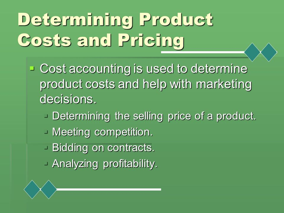 Determining Product Costs and Pricing