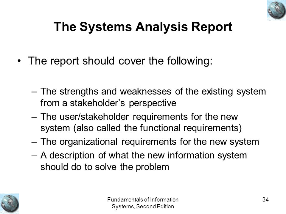 The Systems Analysis Report
