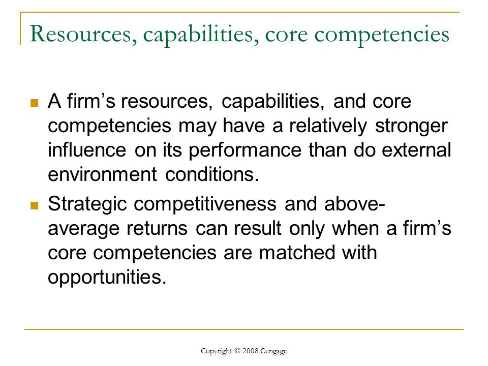 Resources, capabilities, core competencies