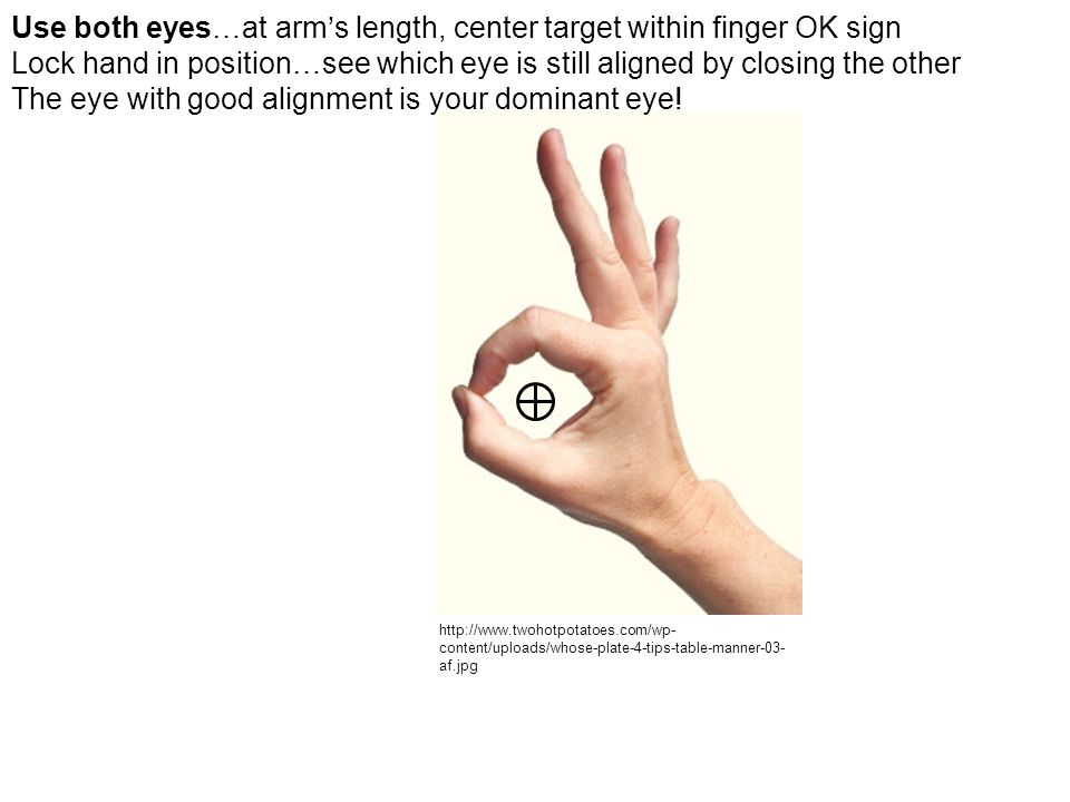 Use both eyes…at arm's length, center target within finger OK sign