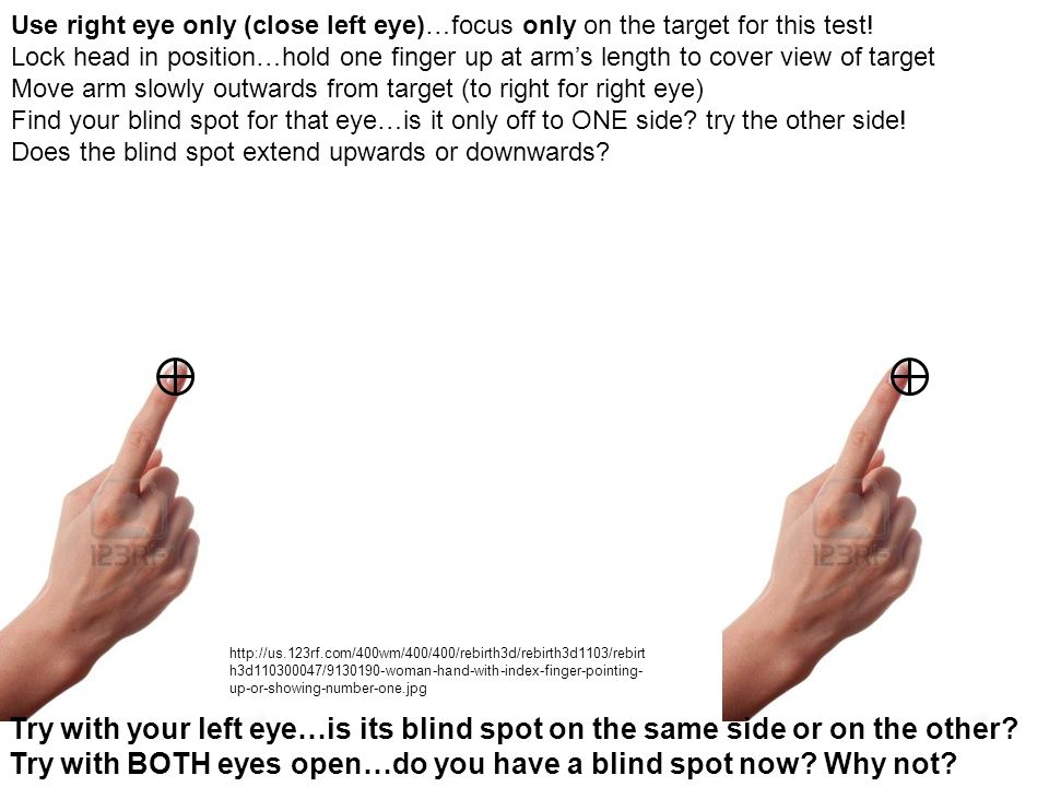 Try with BOTH eyes open…do you have a blind spot now Why not