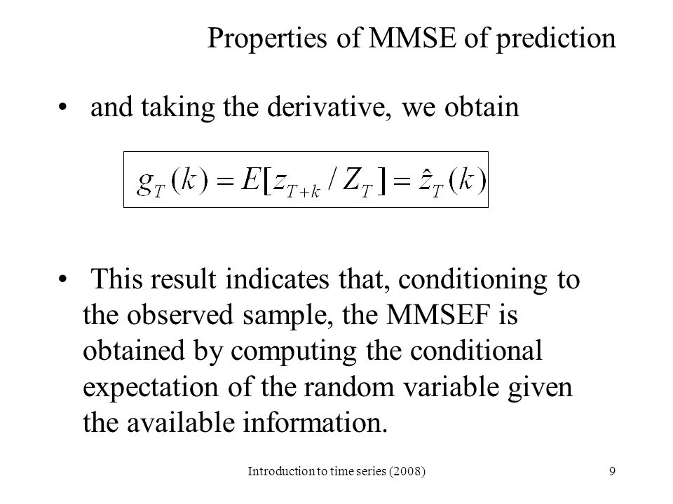 Properties of MMSE of prediction