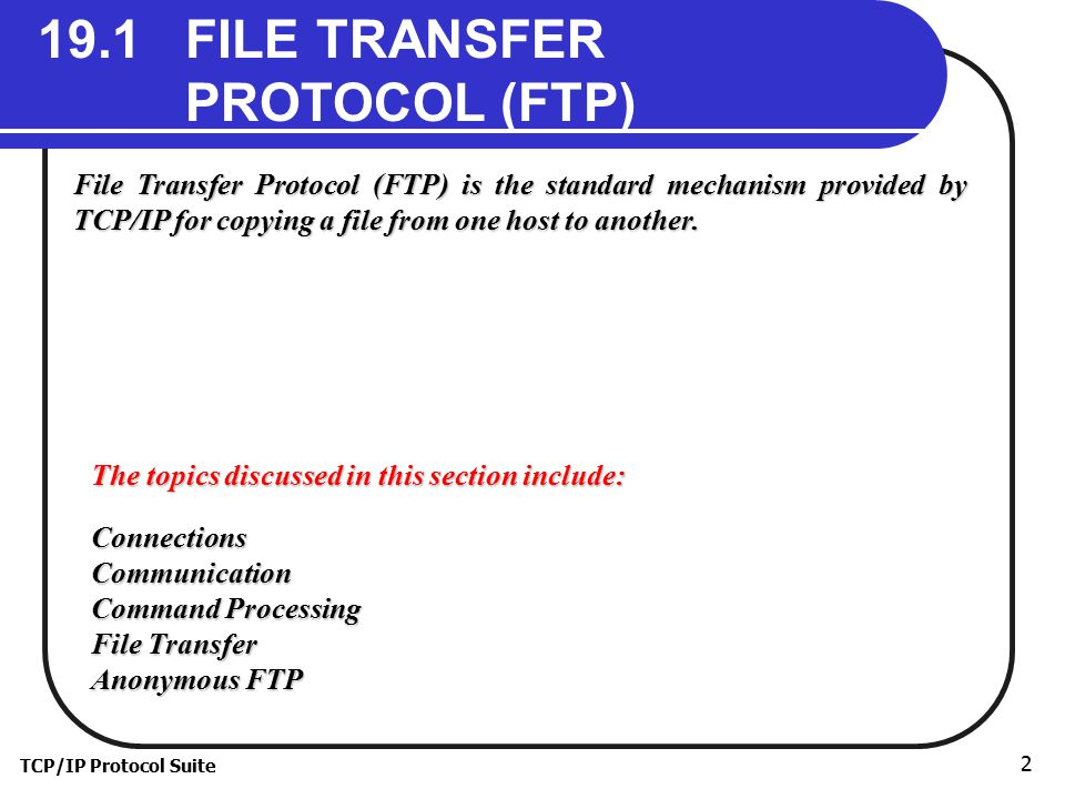 19.1 FILE TRANSFER PROTOCOL (FTP)