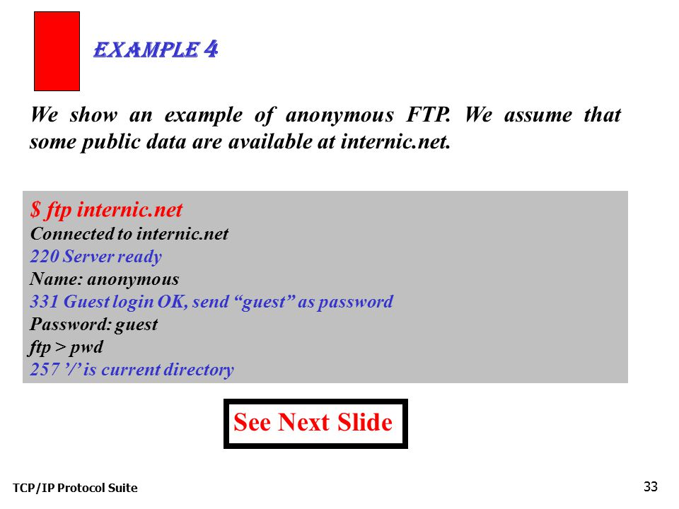 Example 4 We show an example of anonymous FTP. We assume that some public data are available at internic.net.