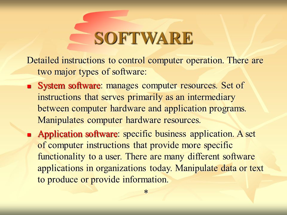 different types of software Examples and types of software below is a list of the different kinds of software a computer may have installed with examples of related programs click any of the links below for additional information.