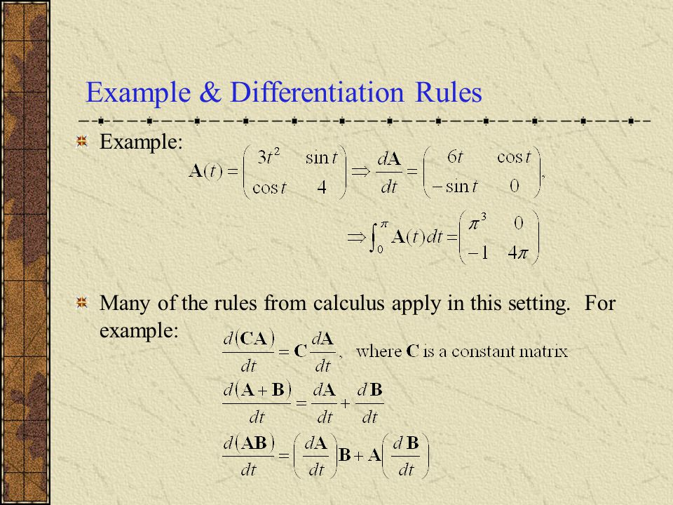 Example & Differentiation Rules