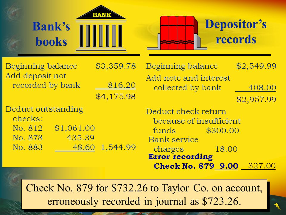 Depositor's records Bank's books