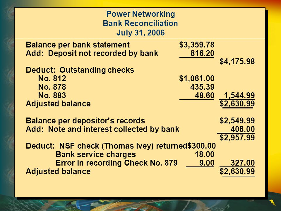 Power Networking Bank Reconciliation July 31, 2006