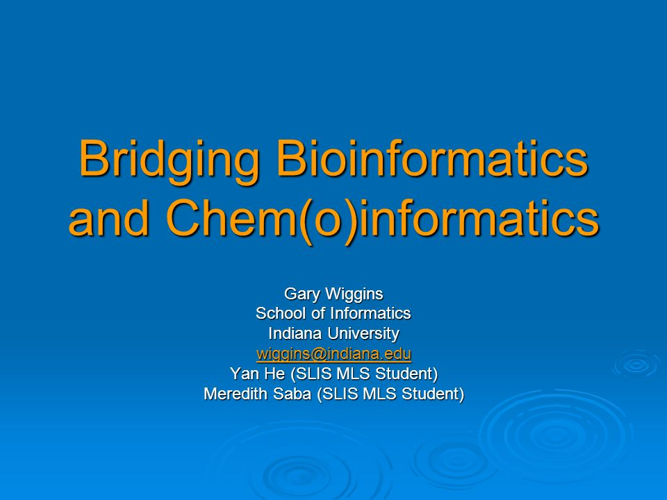 Bridging Bioinformatics and Chem(o)informatics