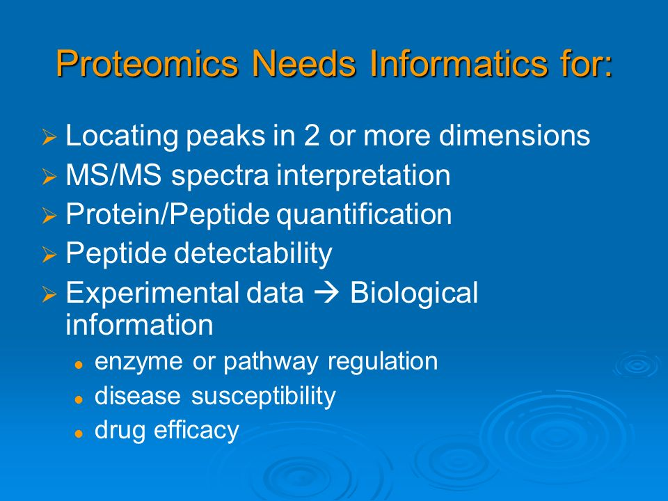 Proteomics Needs Informatics for: