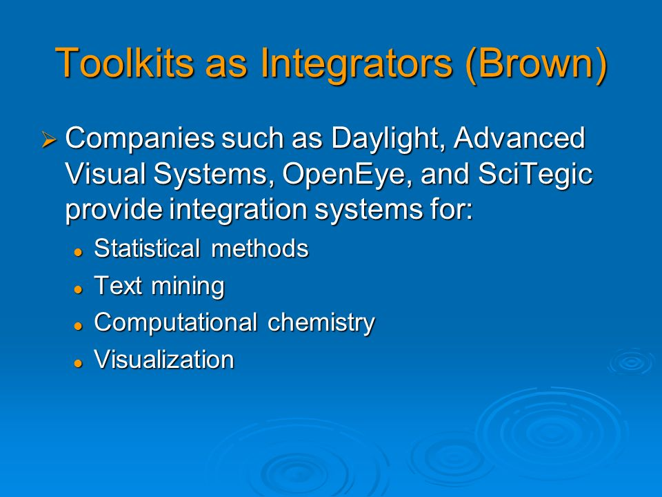 Toolkits as Integrators (Brown)