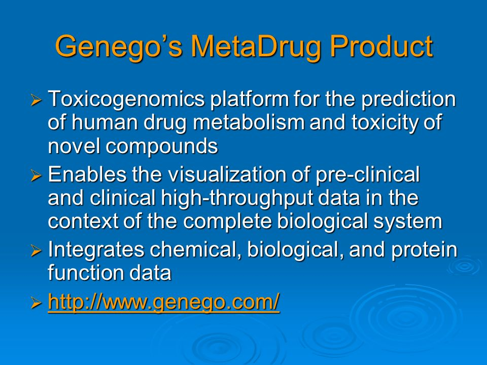 Genego's MetaDrug Product