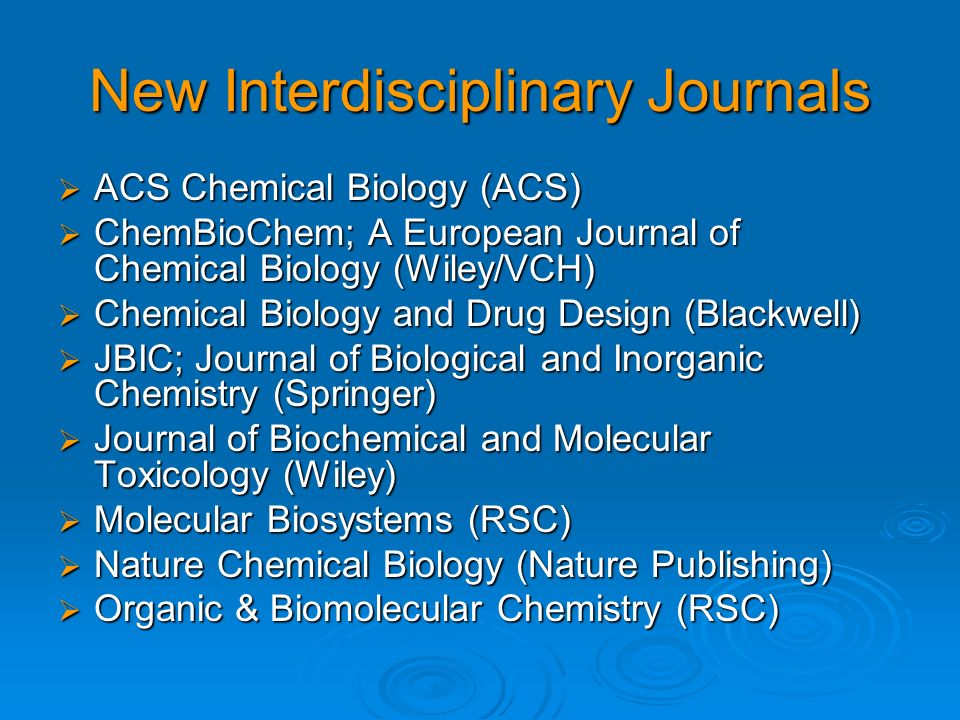 New Interdisciplinary Journals