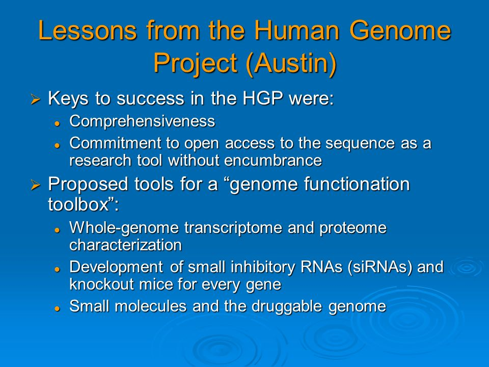 Lessons from the Human Genome Project (Austin)