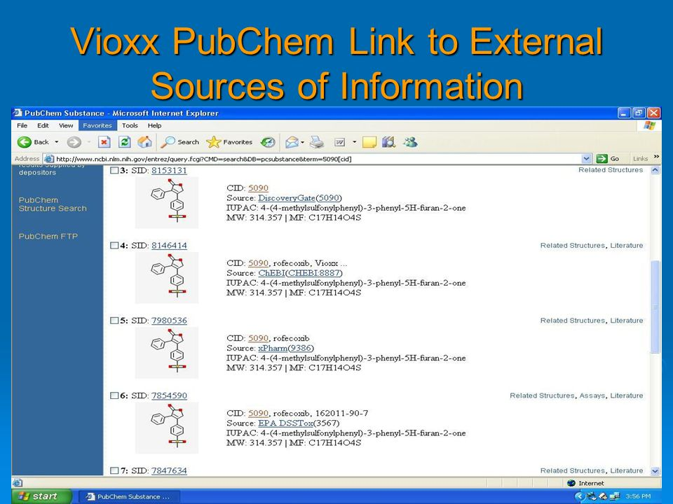 Vioxx PubChem Link to External Sources of Information
