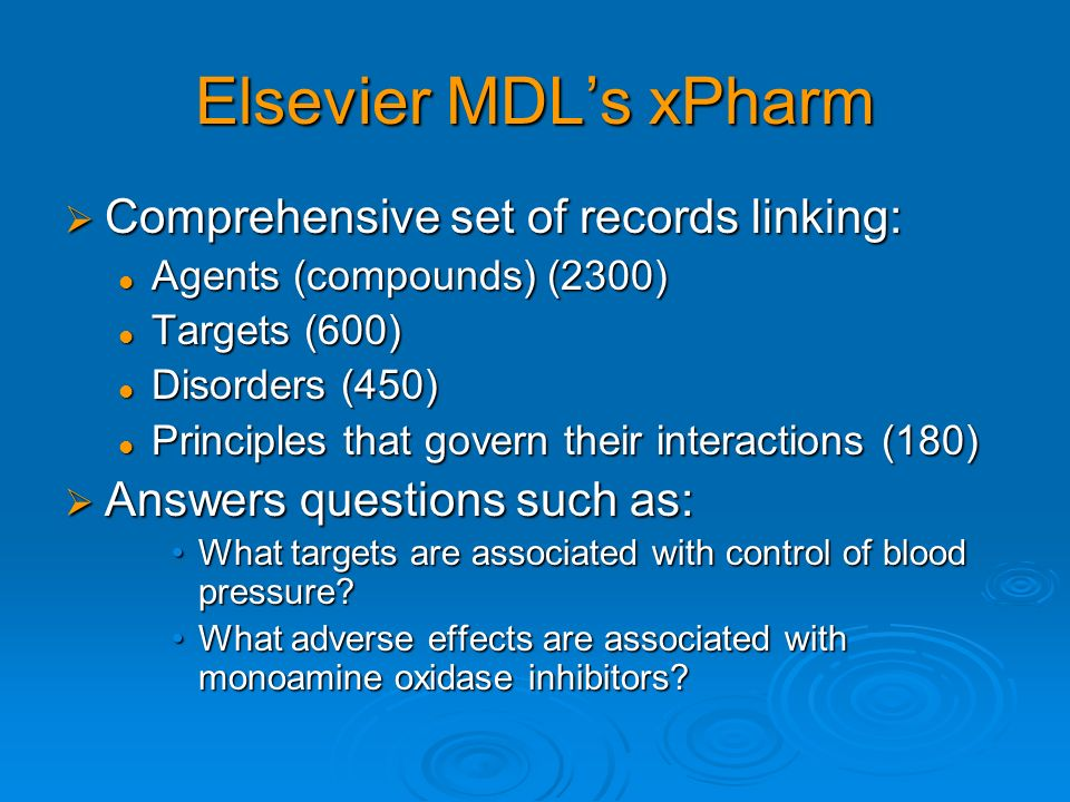 Elsevier MDL's xPharm Comprehensive set of records linking: