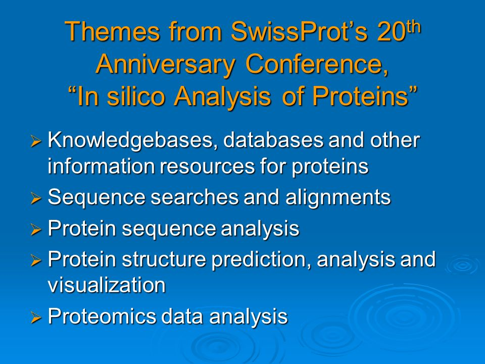 Themes from SwissProt's 20th Anniversary Conference, In silico Analysis of Proteins