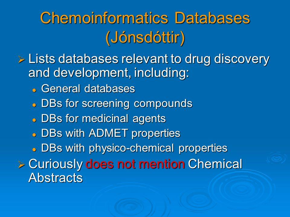 Chemoinformatics Databases (Jónsdóttir)