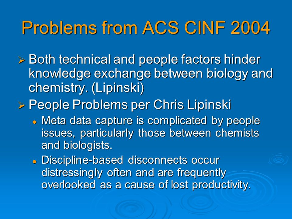 Problems from ACS CINF 2004 Both technical and people factors hinder knowledge exchange between biology and chemistry. (Lipinski)