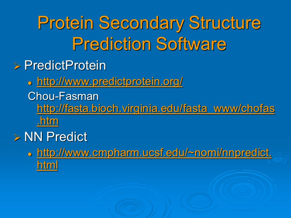 Protein Secondary Structure Prediction Software