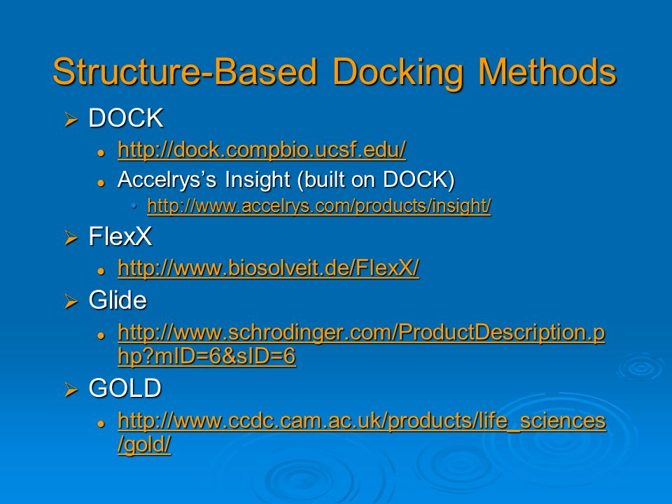 Structure-Based Docking Methods