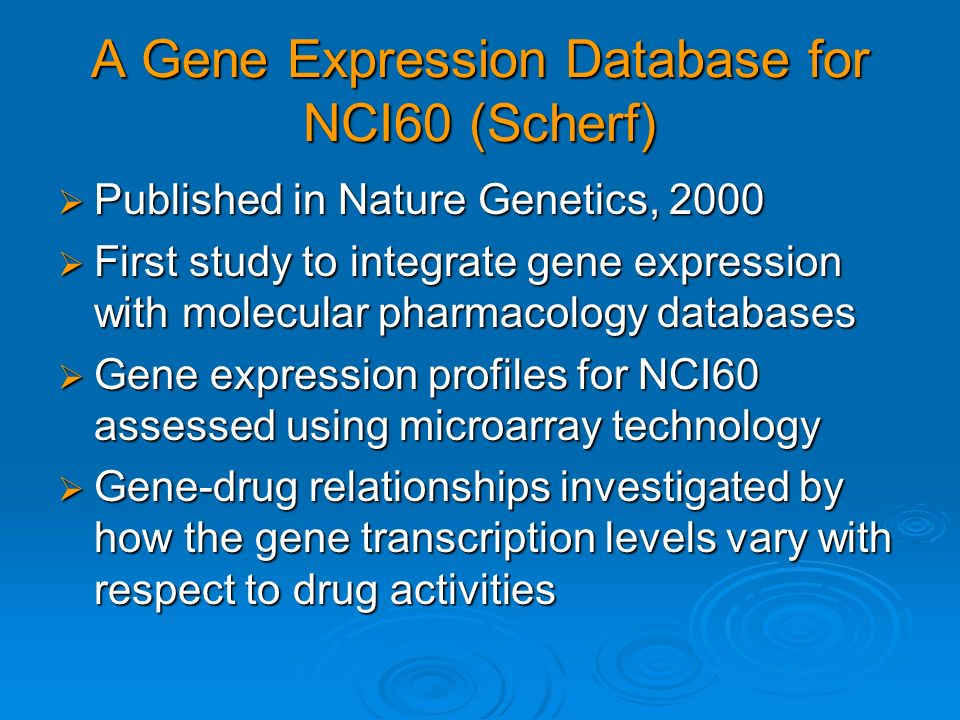 A Gene Expression Database for NCI60 (Scherf)