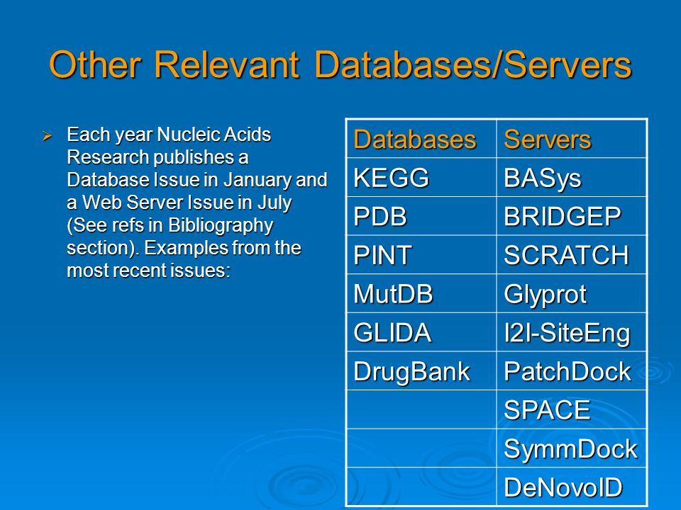 Other Relevant Databases/Servers